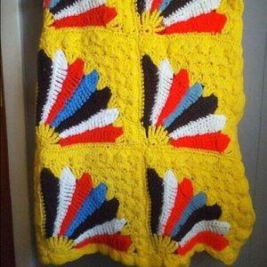 Vintage Crochet Yellow Throw Fan Design BOHO